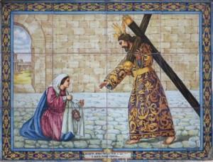 Sexta Estacion La Veronica limpia el rostro de Jesus