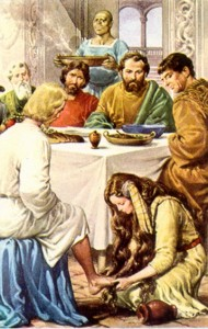 Maria lava los pies de Jesus
