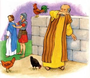 Pedro niega tres veces a Jesus