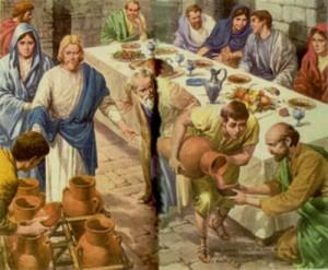 jesus convierte agua en vino